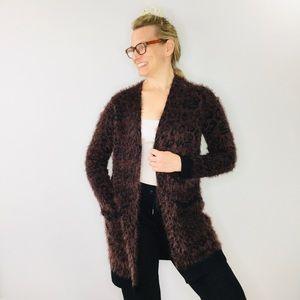 Soft Surroundings leopard fuzzy long cardigan